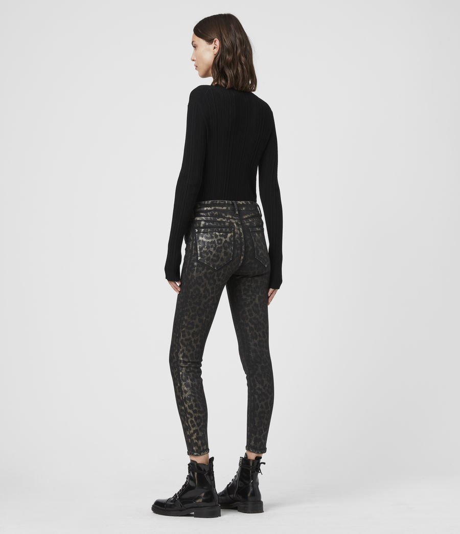 Womens Grace Cropped Mid-Rise Skinny Leopard Jeans, Bronze (bronze) - Image 5