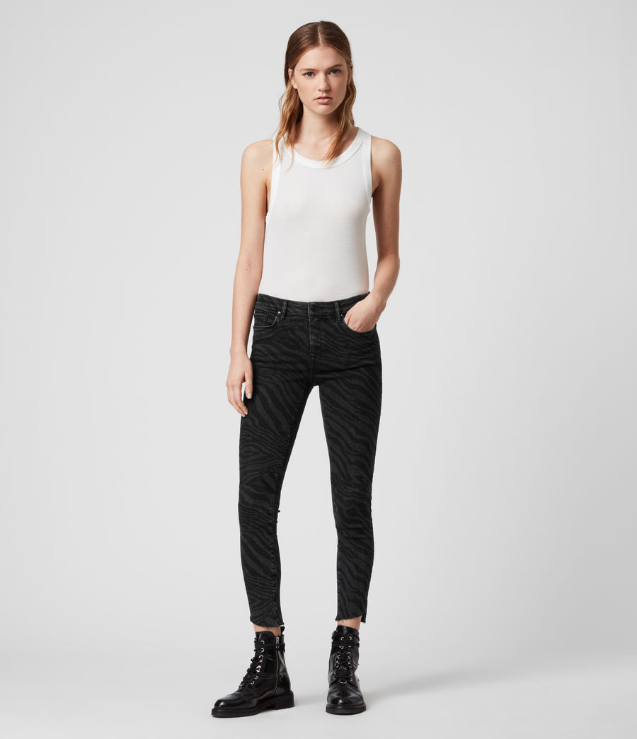 Womens Grace Seebra Ankle Skinny Mid-Rise Jeans, Black (black) - Image 3