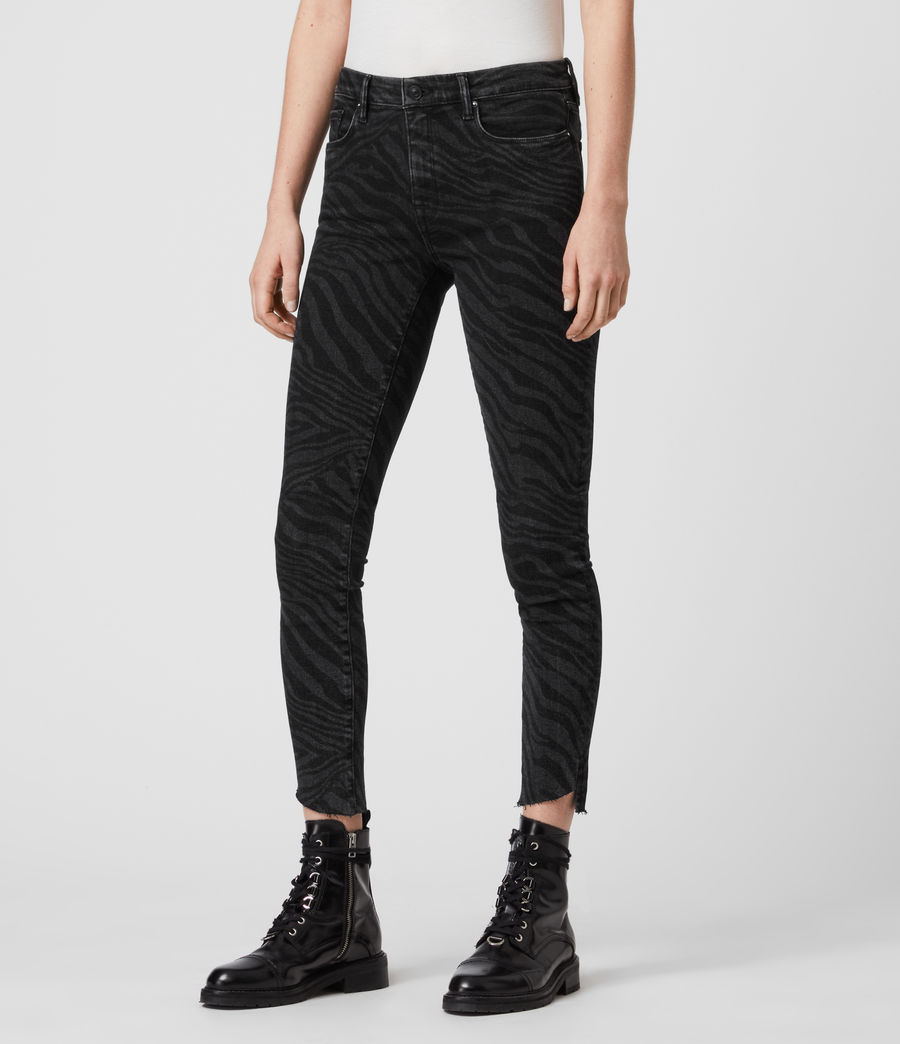 Womens Grace Seebra Ankle Skinny Mid-Rise Jeans, Black (black) - Image 4