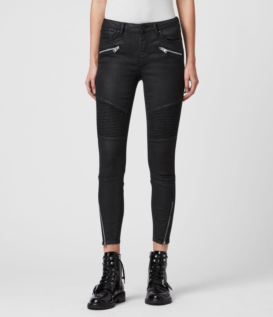 Mujer Skinny Jeans Grace Biker Cropped, Negro recubierto (coated_black) - Image 1