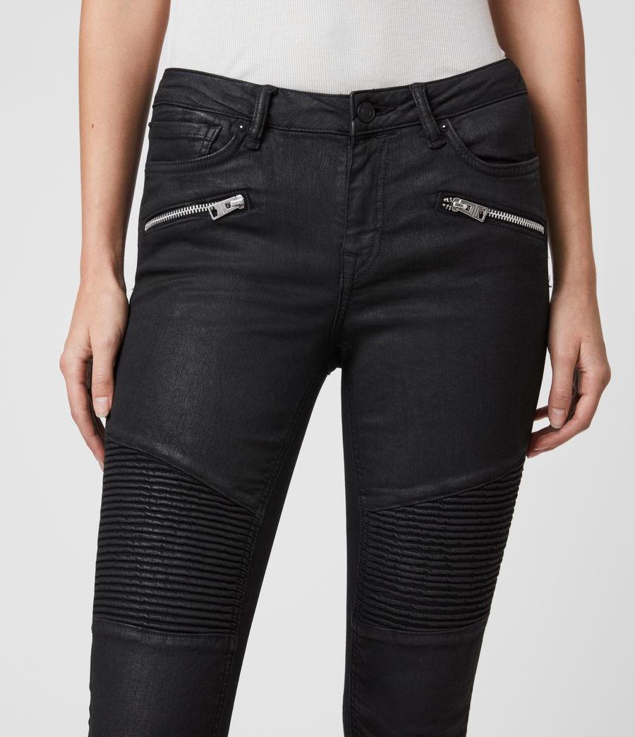 Mujer Skinny Jeans Grace Biker Cropped, Negro recubierto (coated_black) - Image 2