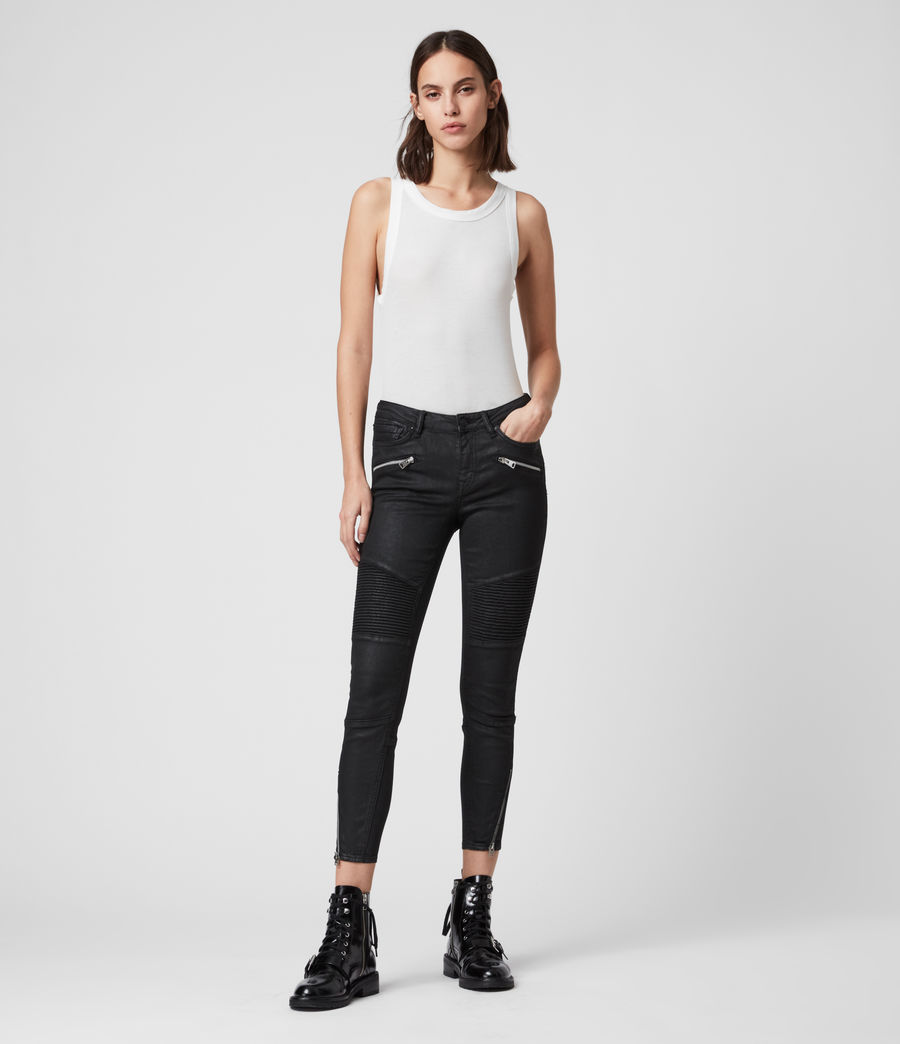 Mujer Skinny Jeans Grace Biker Cropped, Negro recubierto (coated_black) - Image 3