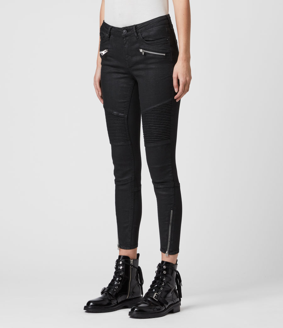 Womens Grace Biker Cropped Mid-Rise Skinny Jeans, Coated Black (coated_black) - Image 4