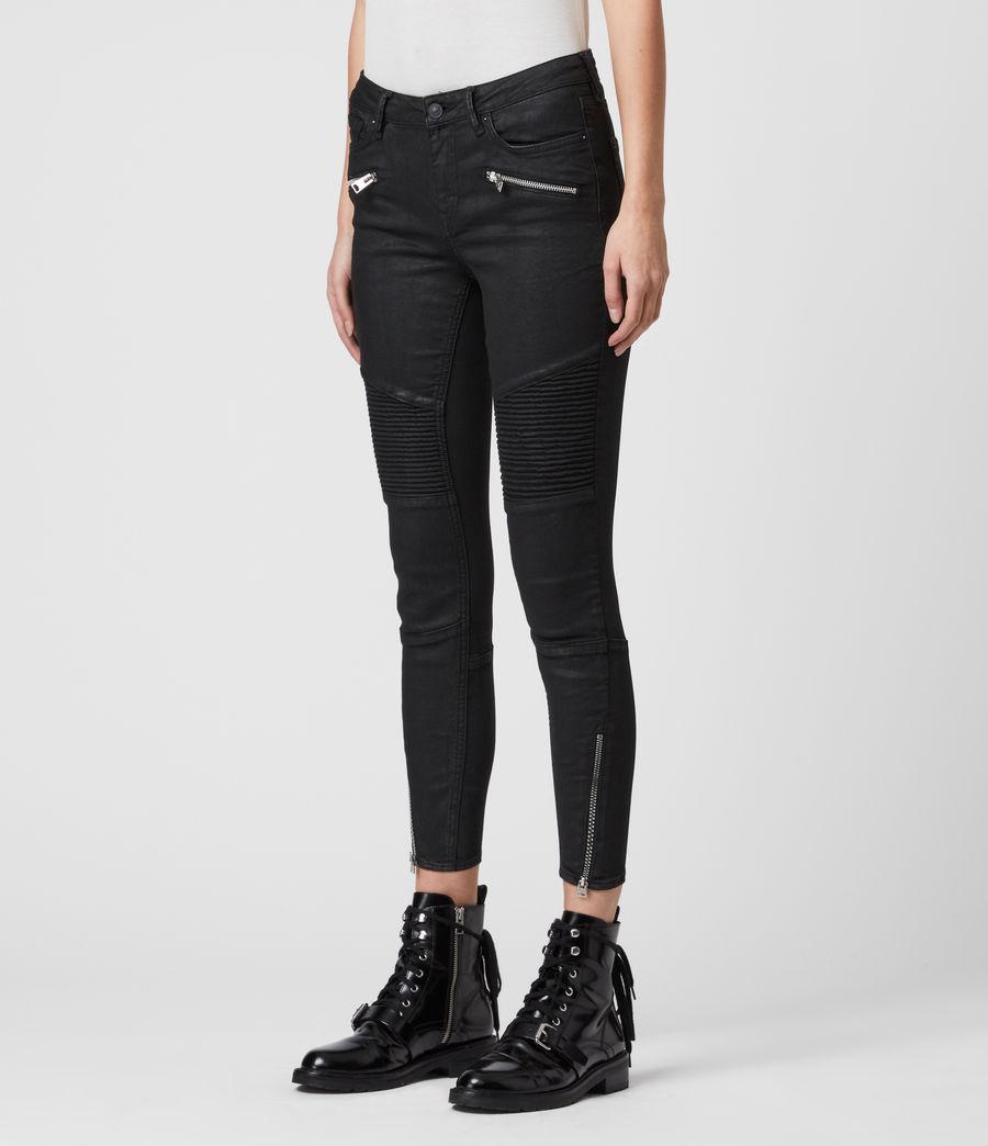 Mujer Skinny Jeans Grace Biker Cropped, Negro recubierto (coated_black) - Image 4