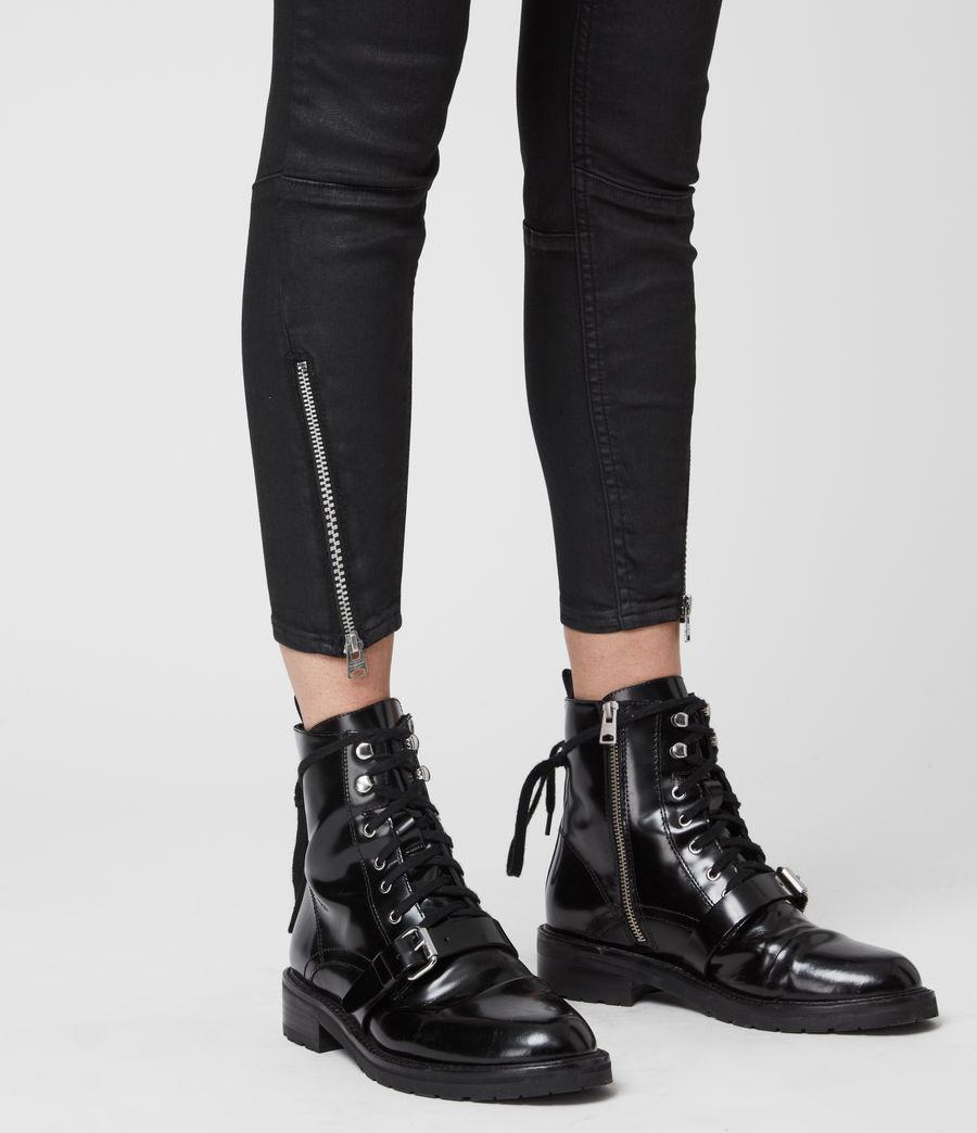 Femmes Jean Skinny Taille Mi-Haute Grace Biker, Noir Enduit (coated_black) - Image 5