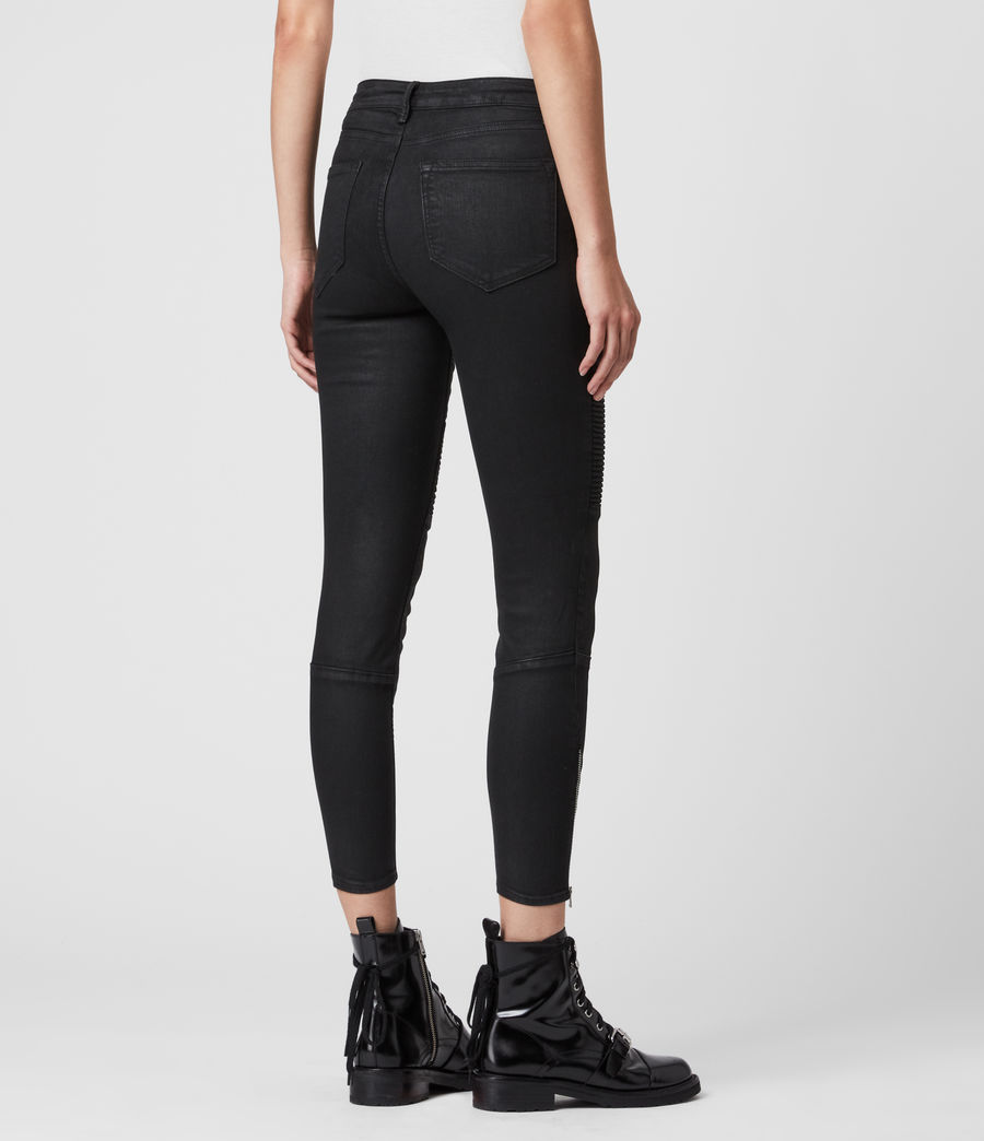 Womens Grace Biker Cropped Mid-Rise Skinny Jeans, Coated Black (coated_black) - Image 6