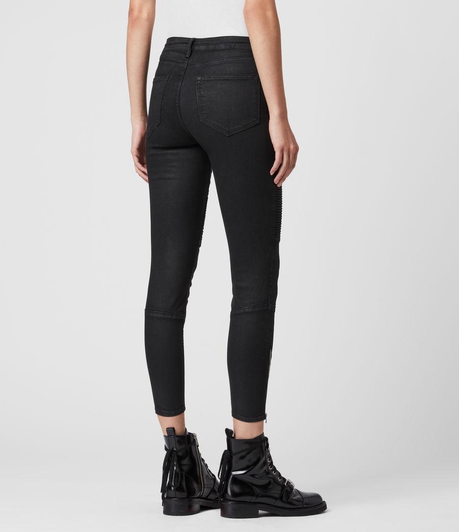 Femmes Jean Skinny Taille Mi-Haute Grace Biker, Noir Enduit (coated_black) - Image 6