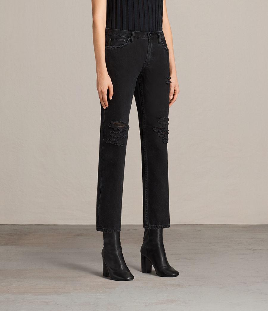Damen Muse Slim Destroy Jeans (washed_black) - Image 4