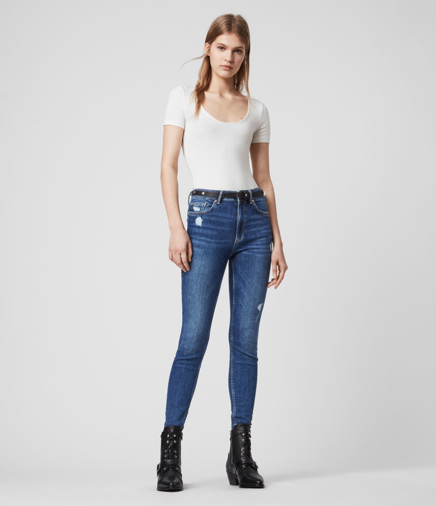 Womens Dax High-Rise Superstretch Shaping Skinny Jeans, Mid Indigo Blue (mid_indigo_blue) - Image 5