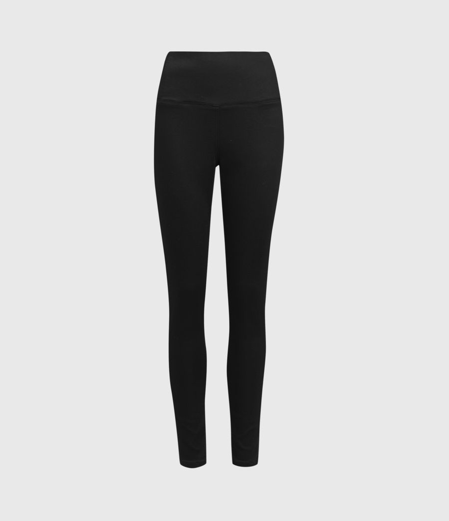 Womens Cora High-Rise Zip Denim Leggings, Black (black) - Image 2