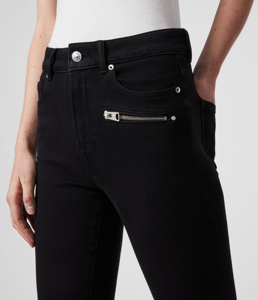 Damen Biker Cropped Mittelhoch-Tailliert Bi-Stretch Skinny Jeans, Schwarz (black) - Image 2