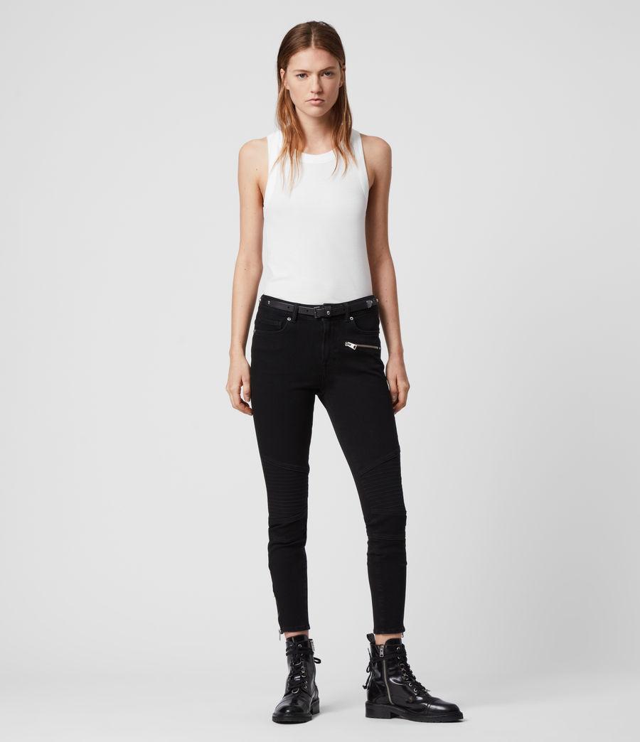 Damen Biker Cropped Mittelhoch-Tailliert Bi-Stretch Skinny Jeans, Schwarz (black) - Image 3