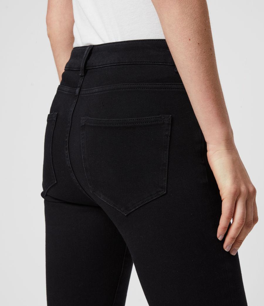 Damen Biker Cropped Mittelhoch-Tailliert Bi-Stretch Skinny Jeans, Schwarz (black) - Image 5