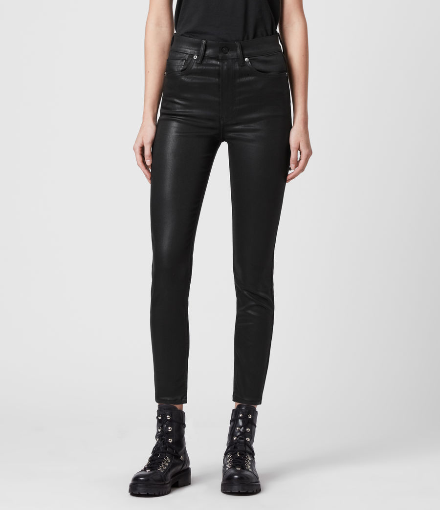 Mujer Dax Cropped High-Rise Superstretch Skinny Jeans, Coated Black (coated_black) - Image 3