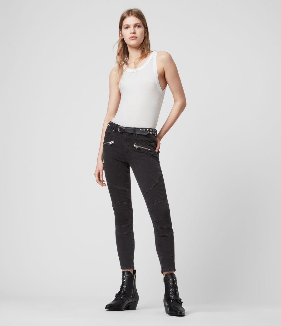 Women's Biker Cropped Mid-Rise Bi-Stretch Studded Skinny Jeans, Soft Black (soft_black) - Image 1