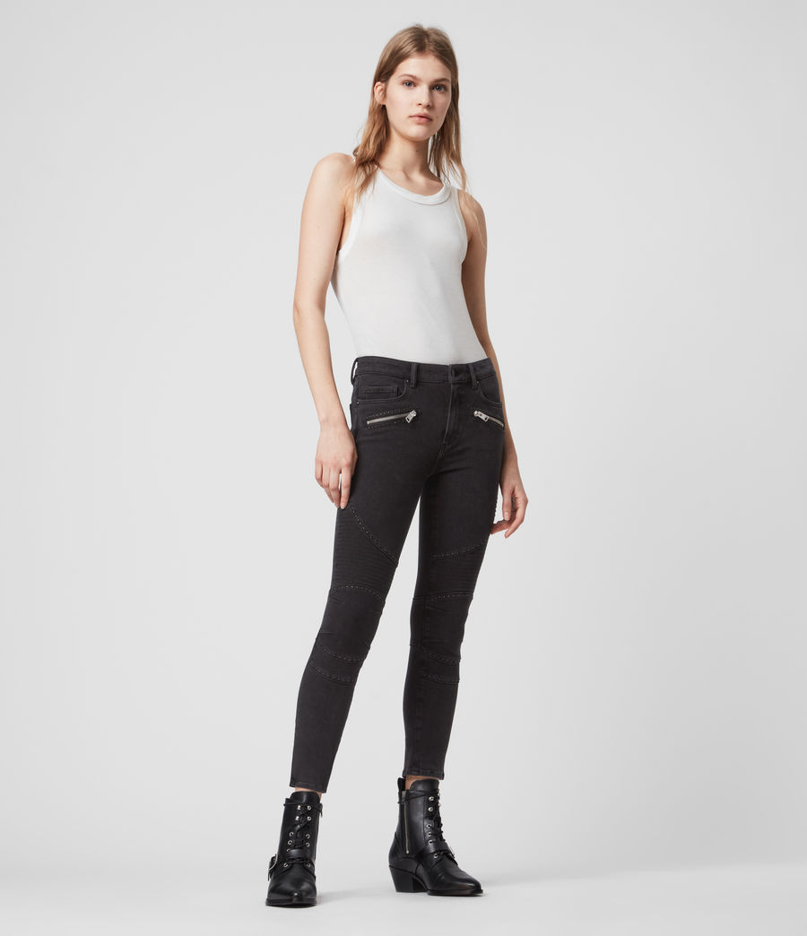 Women's Biker Cropped Mid-Rise Bi-Stretch Studded Skinny Jeans, Soft Black (soft_black) - Image 2