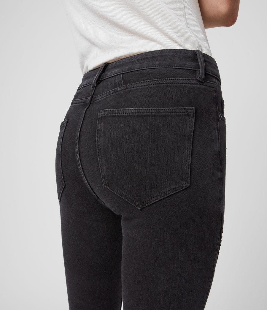 Women's Biker Cropped Mid-Rise Bi-Stretch Studded Skinny Jeans, Soft Black (soft_black) - Image 3