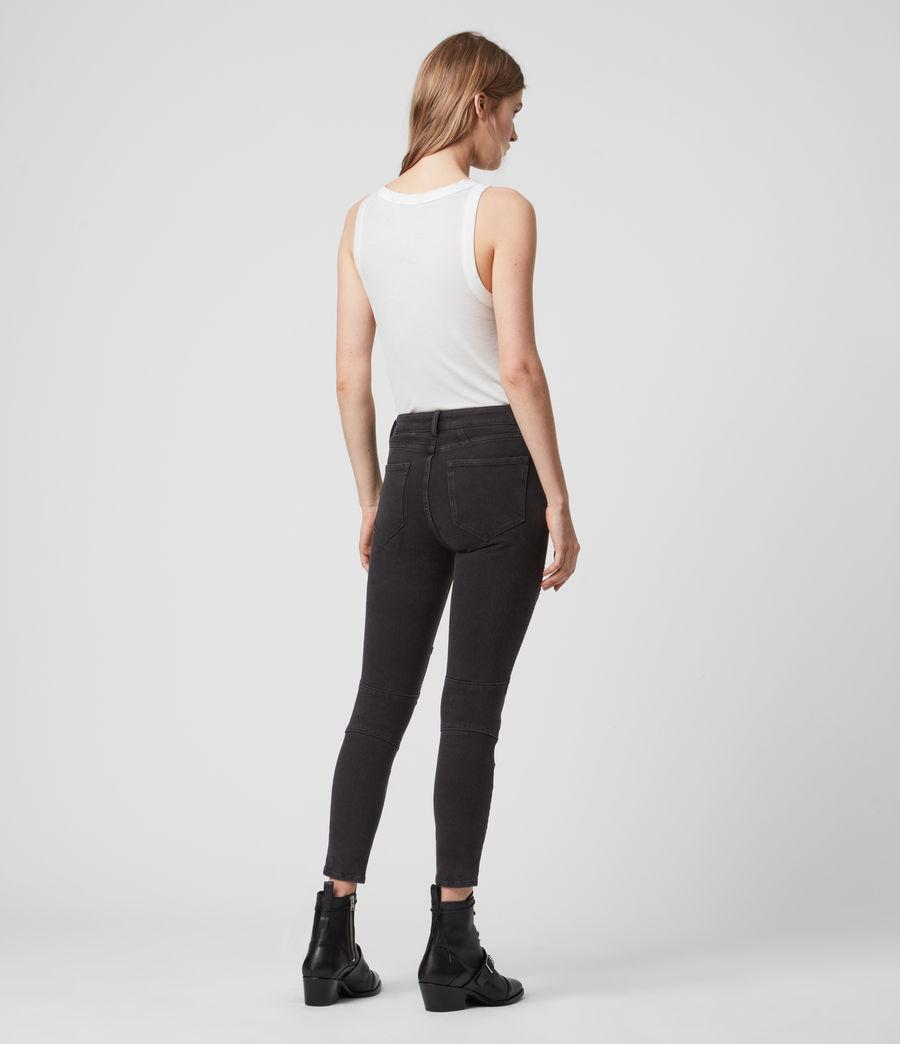 Women's Biker Cropped Mid-Rise Bi-Stretch Studded Skinny Jeans, Soft Black (soft_black) - Image 7