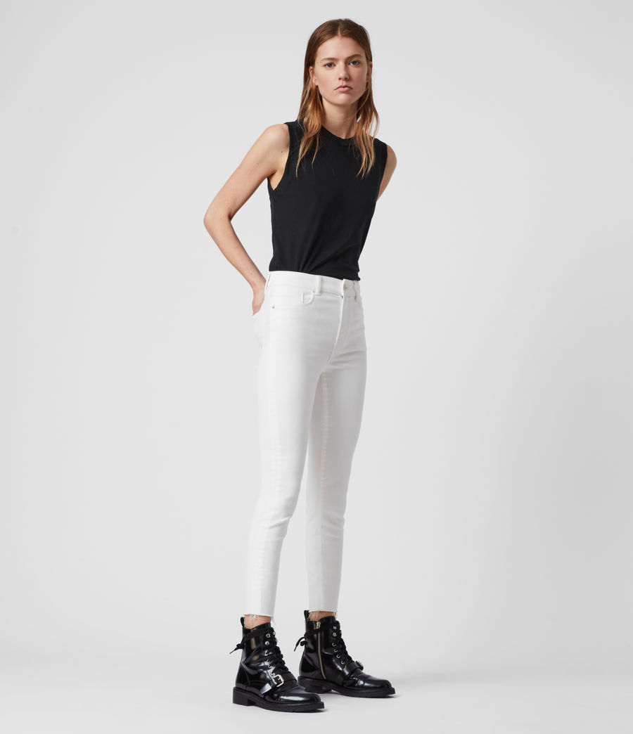 Womens Miller Ankle Mid-Rise Superstretch Skinny Jeans, White (white) - Image 3