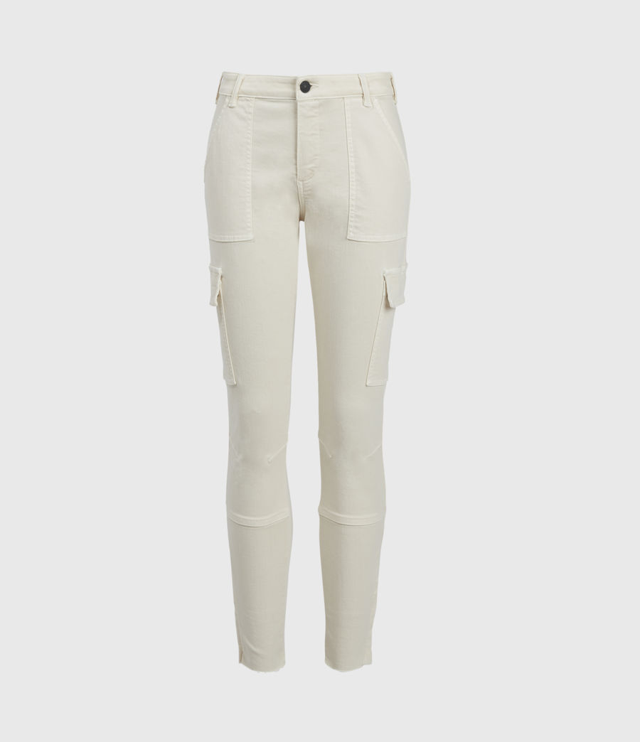 Womens Duran Mid-Rise Skinny Cargo Jeans, Ecru White (ecru_white) - Image 1