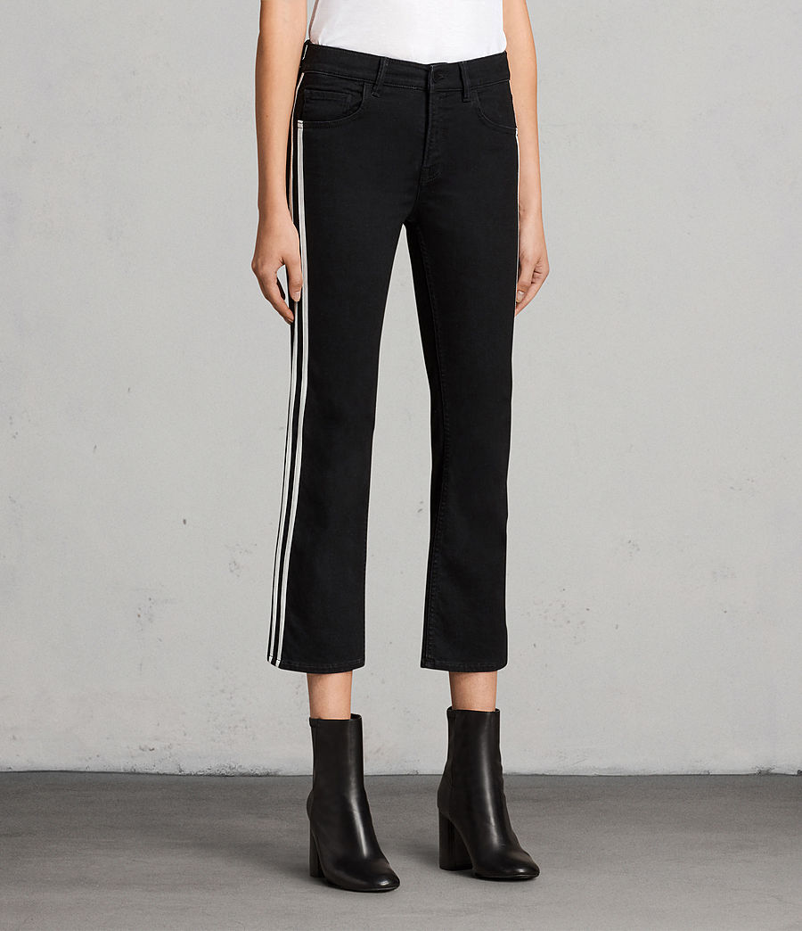 Women's Heidi Stripe Jeans (Black) - Image 4