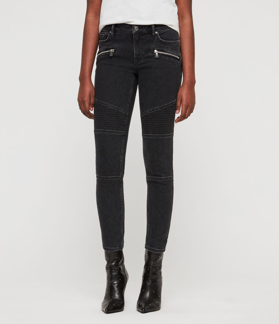 Women's Biker Cropped Skinny Low-Rise Jeans, Washed Black (washed_black) - Image 1