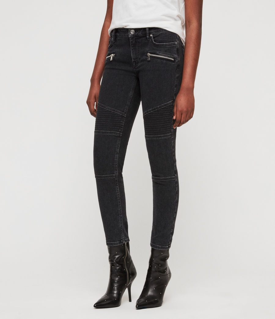 Women's Biker Cropped Skinny Low-Rise Jeans, Washed Black (washed_black) - Image 2
