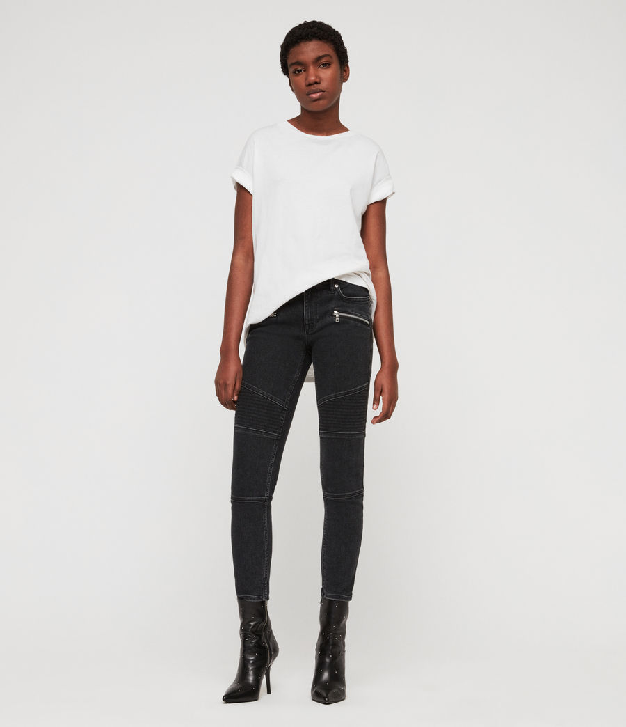Women's Biker Cropped Skinny Low-Rise Jeans, Washed Black (washed_black) - Image 4