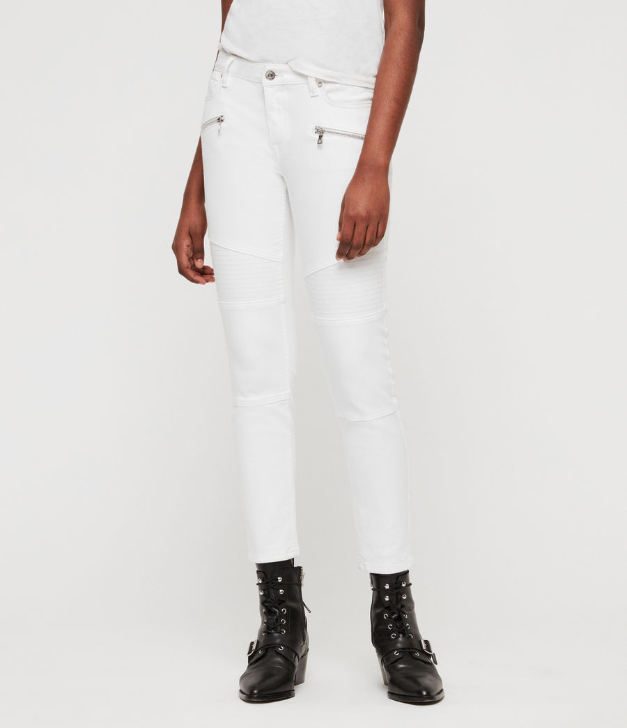 Women's Biker Cropped Skinny Low-Rise Jeans, White (white) - Image 1