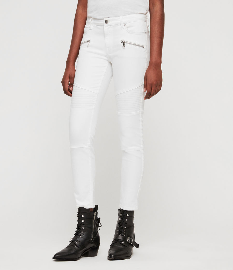 Women's Biker Cropped Skinny Low-Rise Jeans, White (white) - Image 2