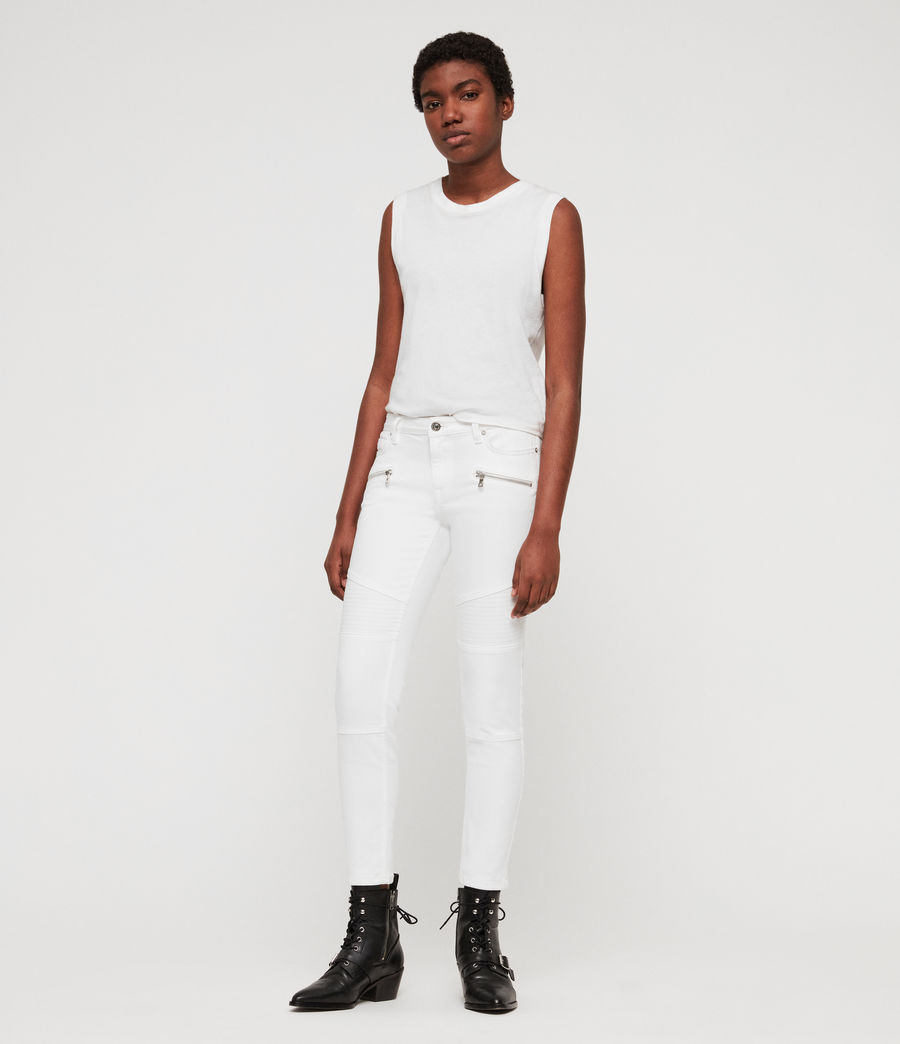 Women's Biker Cropped Skinny Low-Rise Jeans, White (white) - Image 3
