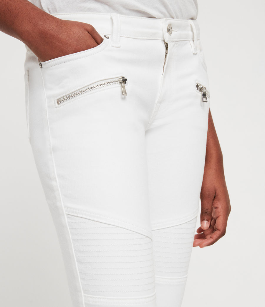Women's Biker Cropped Skinny Low-Rise Jeans, White (white) - Image 4