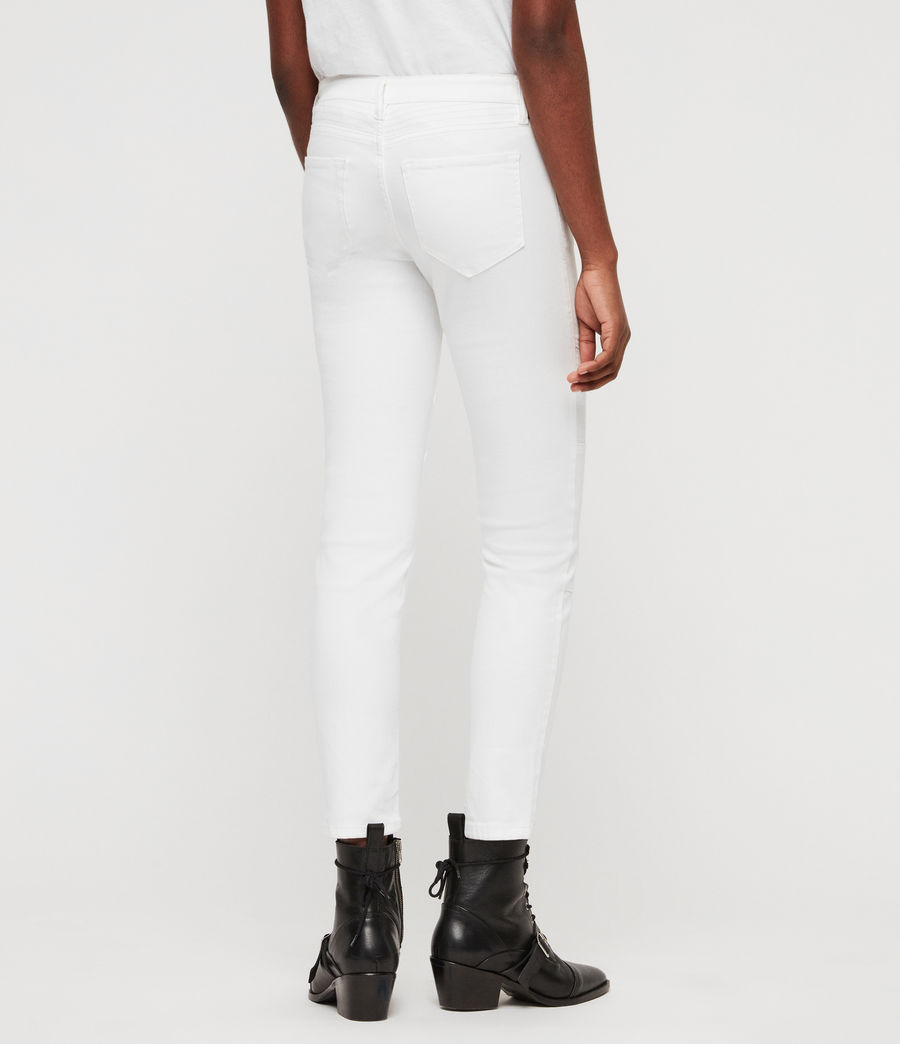 Women's Biker Cropped Skinny Low-Rise Jeans, White (white) - Image 5