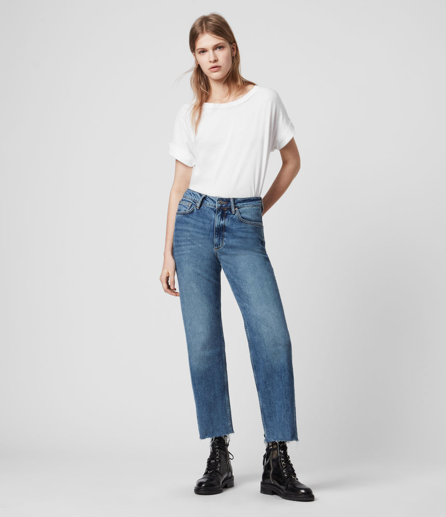 Women's Harper Cropped High-Rise Straight Jeans, Mid Indigo Blue (mid_indigo_blue) - Image 3