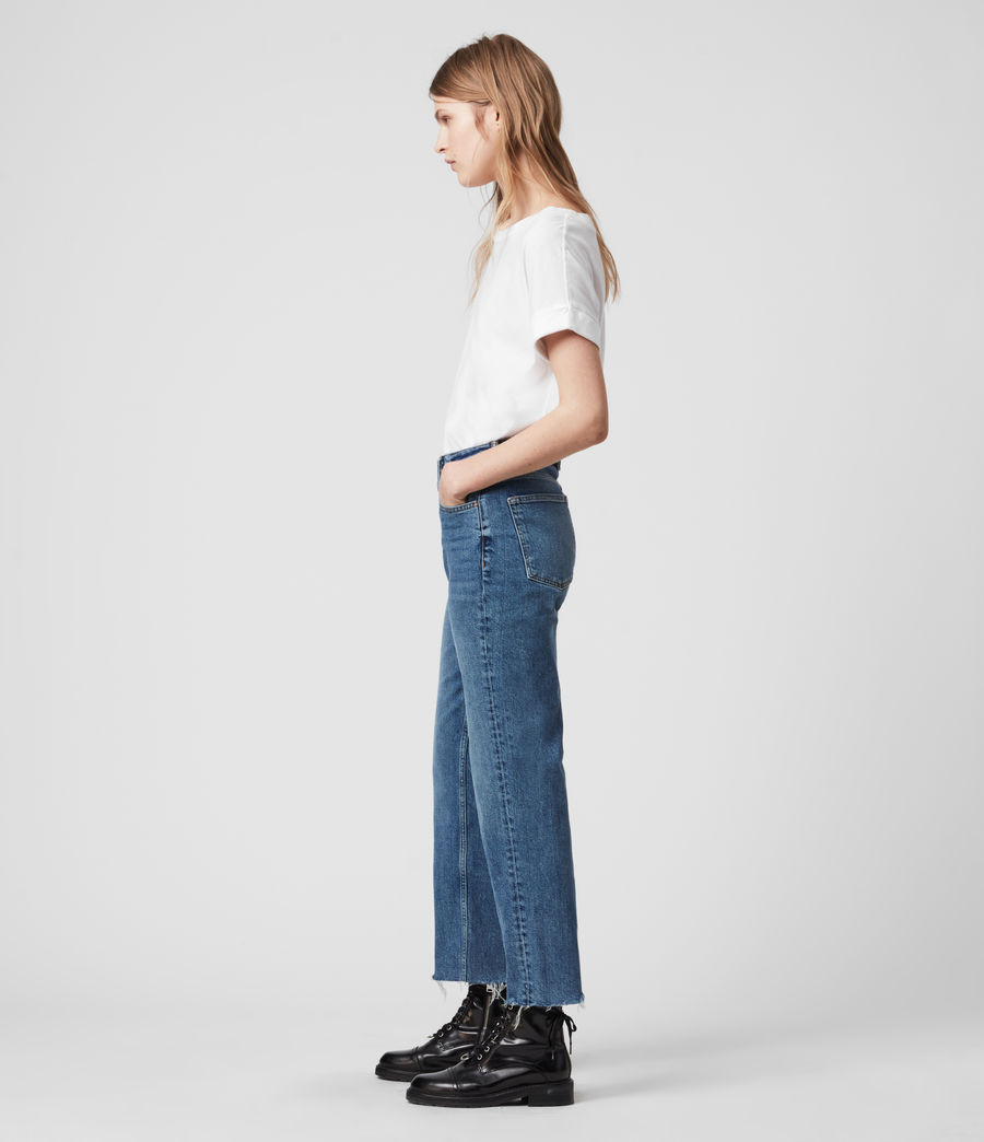 Women's Harper Cropped High-Rise Straight Jeans, Mid Indigo Blue (mid_indigo_blue) - Image 4