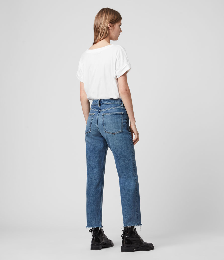 Women's Harper Cropped High-Rise Straight Jeans, Mid Indigo Blue (mid_indigo_blue) - Image 6