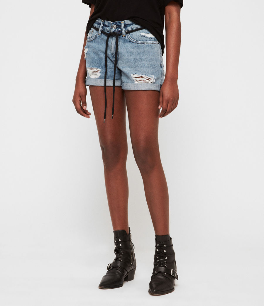 Womens Blaire Boyfriend Denim Shorts (indigo_blue) - Image 2