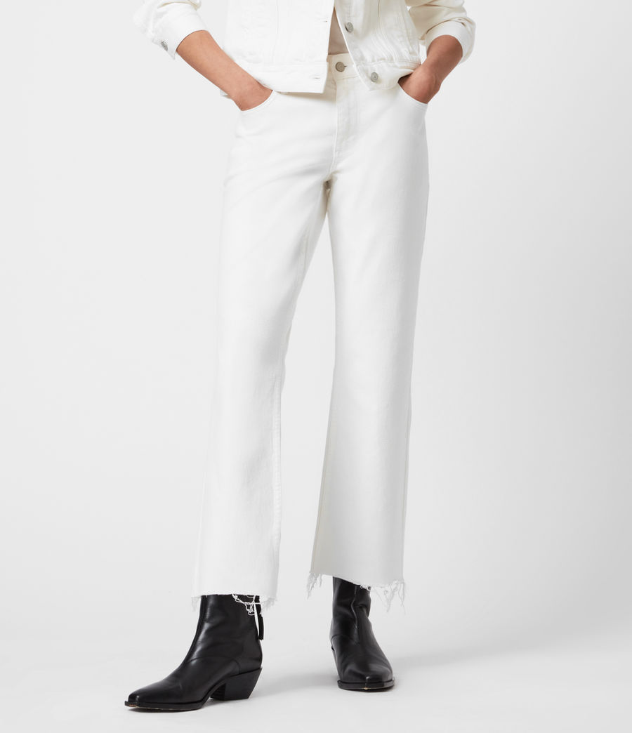 Damen Barely Cropped Schlaghose Jeans (natural_white) - Image 4