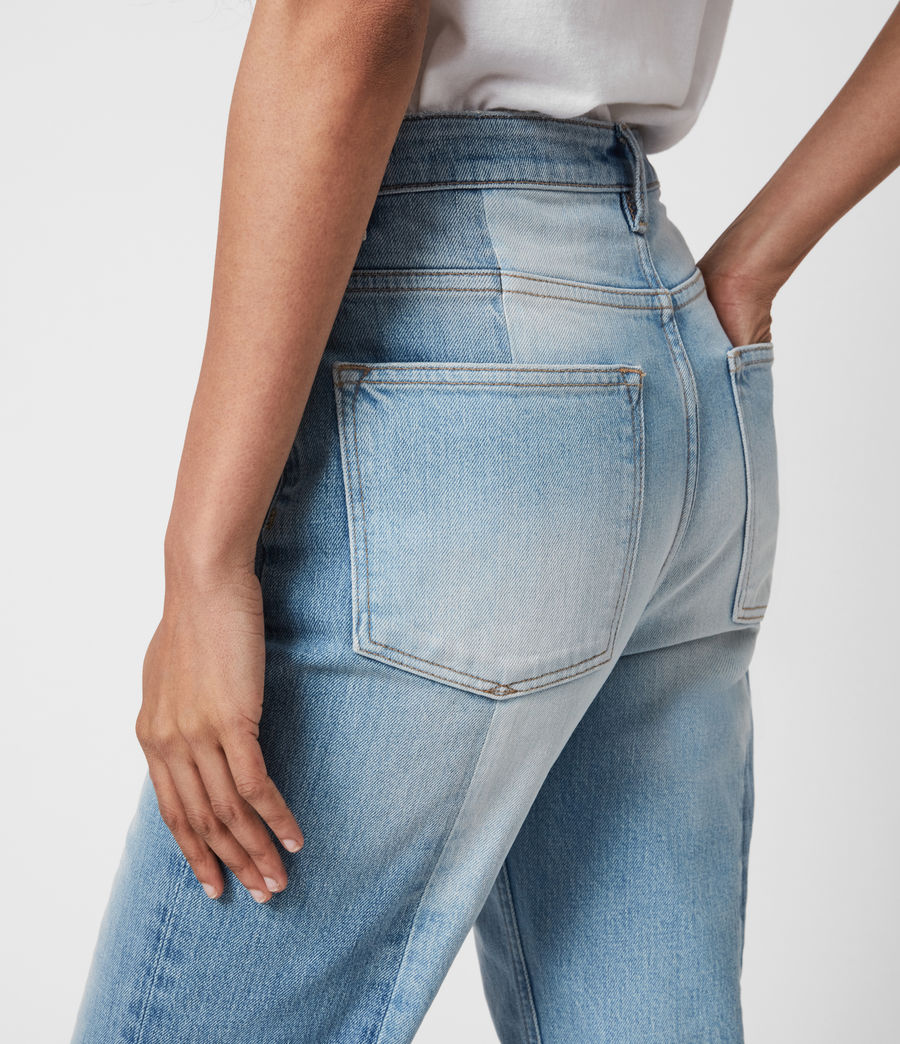 Womens Kim Two-Tone High-Rise Jeans, Mid Indigo (mid_indigo) - Image 6