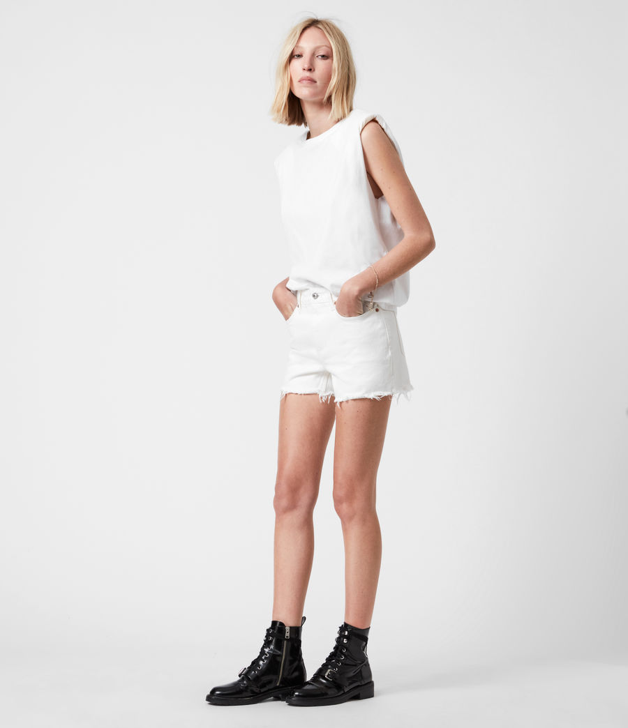 Women's Sandy Mid-Rise Denim Shorts (white) - Image 1