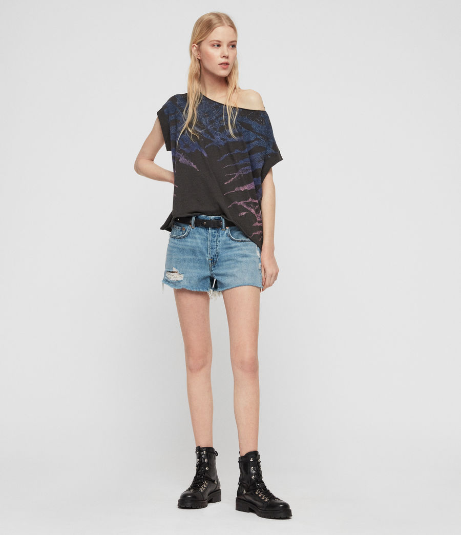 Womens Mai Destroyed High-Rise Denim Shorts (indigo_blue) - Image 1