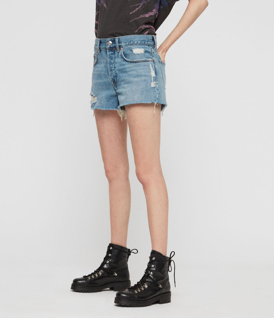 Womens Mai Destroyed High-Rise Denim Shorts (indigo_blue) - Image 2