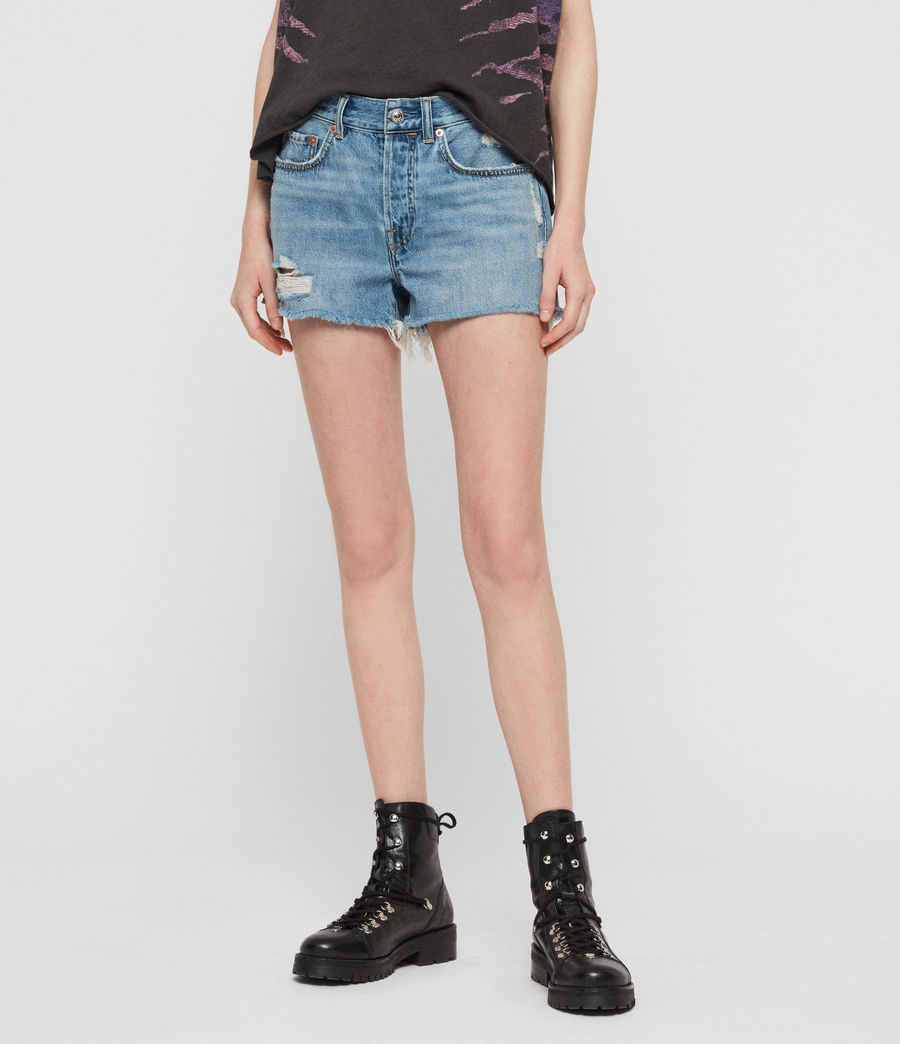 Womens Mai Destroyed High-Rise Denim Shorts (indigo_blue) - Image 3