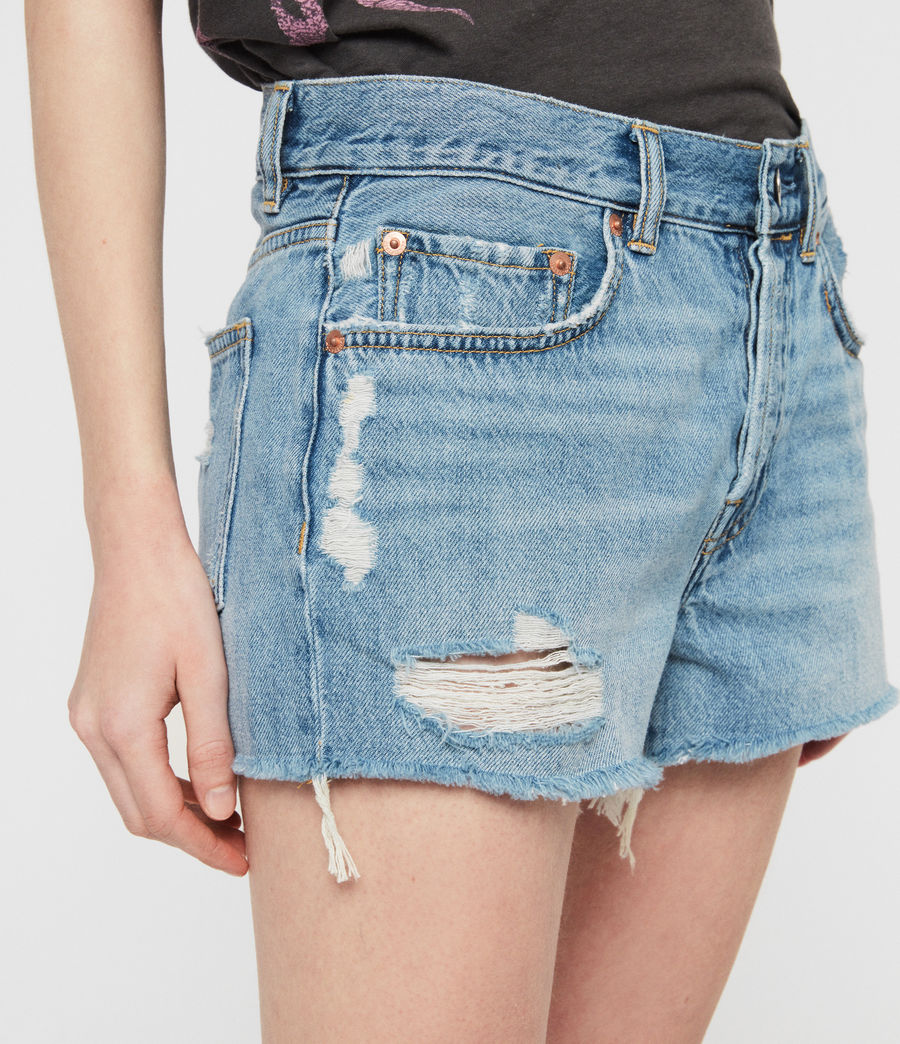 Womens Mai Destroyed High-Rise Denim Shorts (indigo_blue) - Image 4