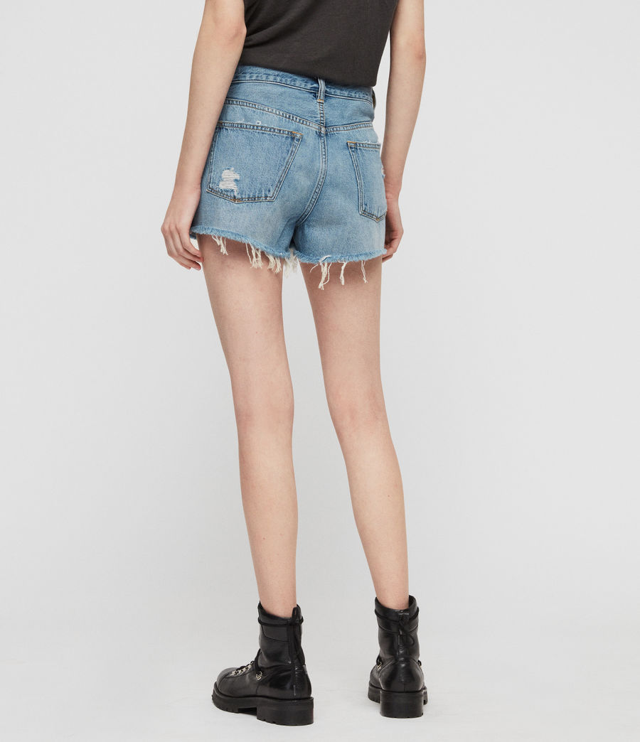 Womens Mai Destroyed High-Rise Denim Shorts (indigo_blue) - Image 6