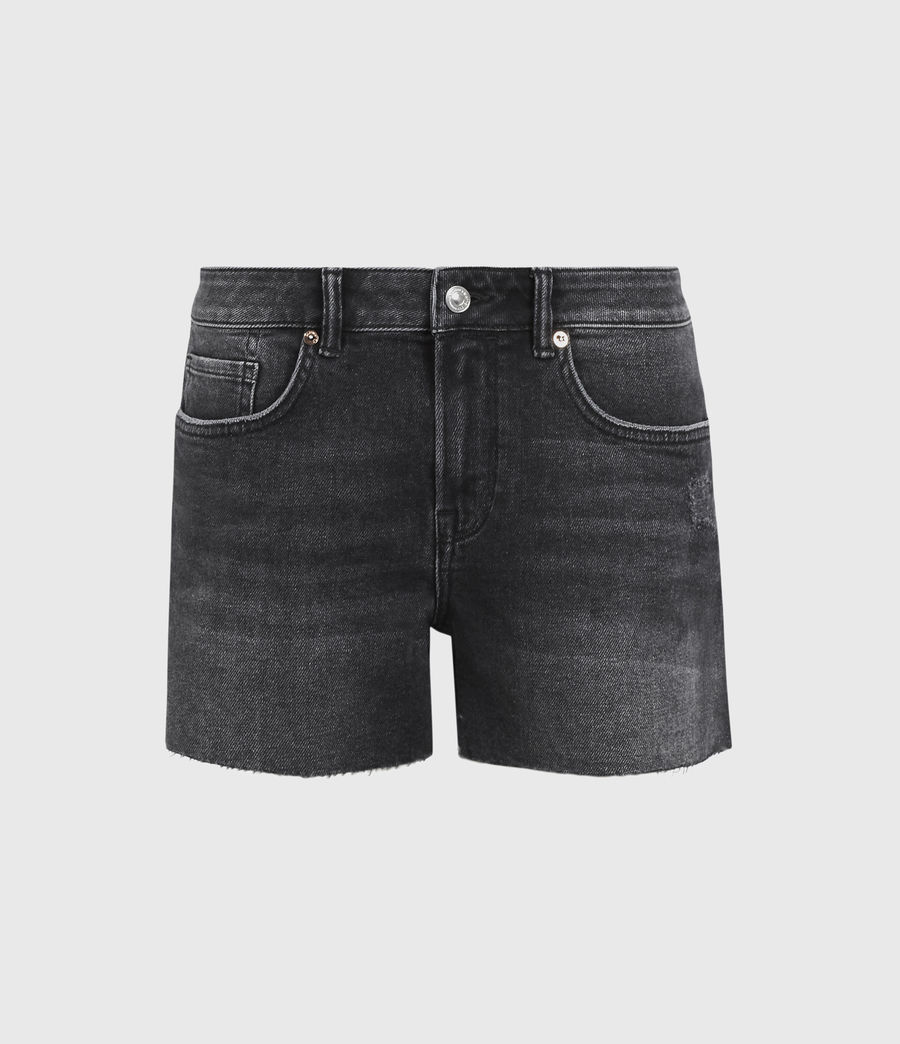 Women's Mera Cut Off Denim Shorts (washed_black) - Image 2