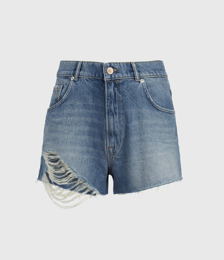 Women's Winnie Cut Off High-Rise Denim Shorts (mid_indigo) - Image 2
