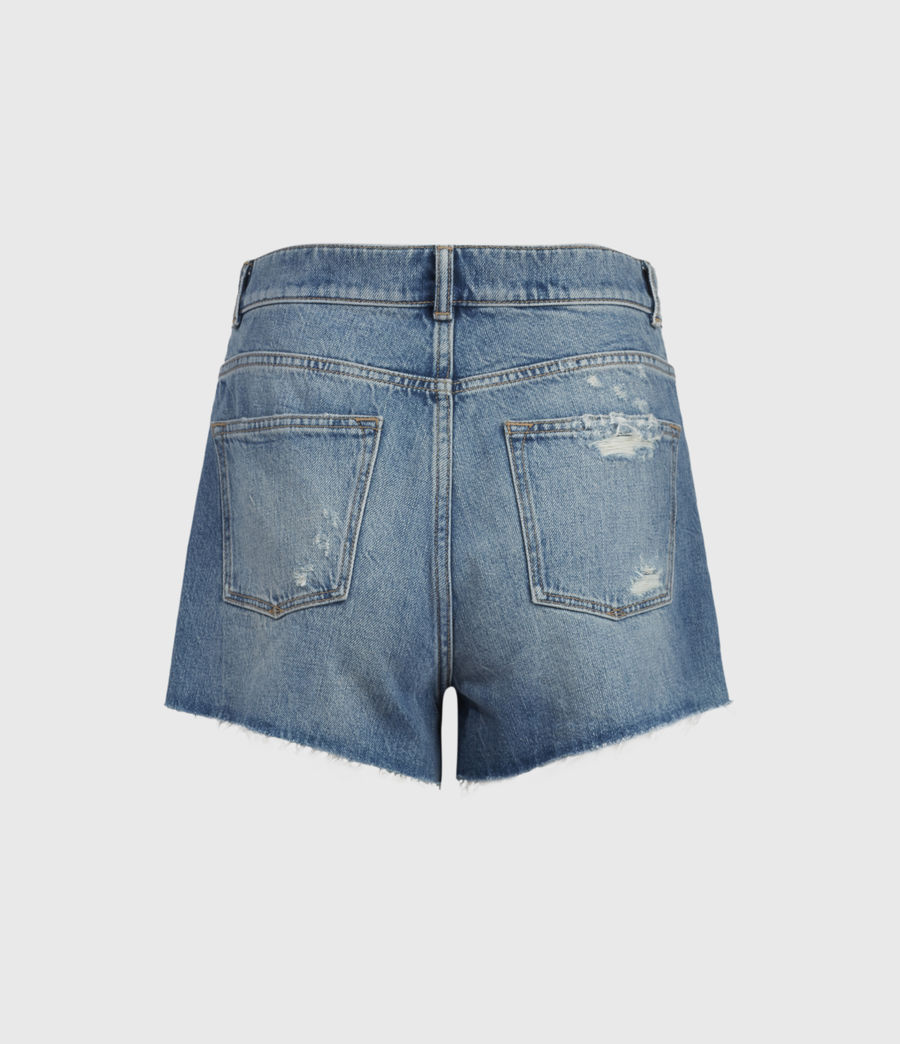 Women's Winnie Cut Off High-Rise Denim Shorts (mid_indigo) - Image 3