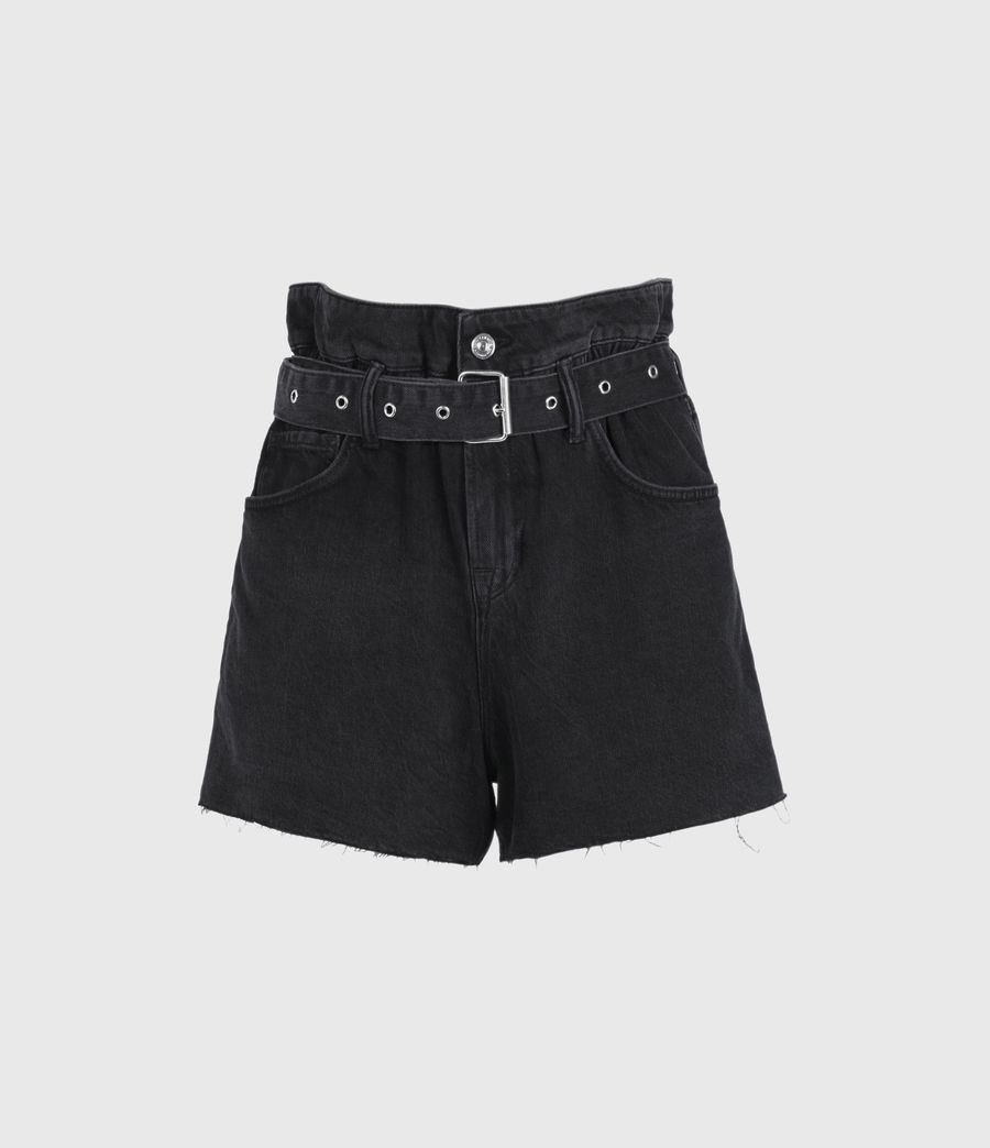 Womens Hannah Paperbag Denim Shorts (washed_black) - Image 2