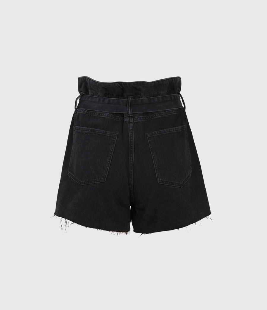 Women's Hannah Paperbag Denim Shorts (washed_black) - Image 2